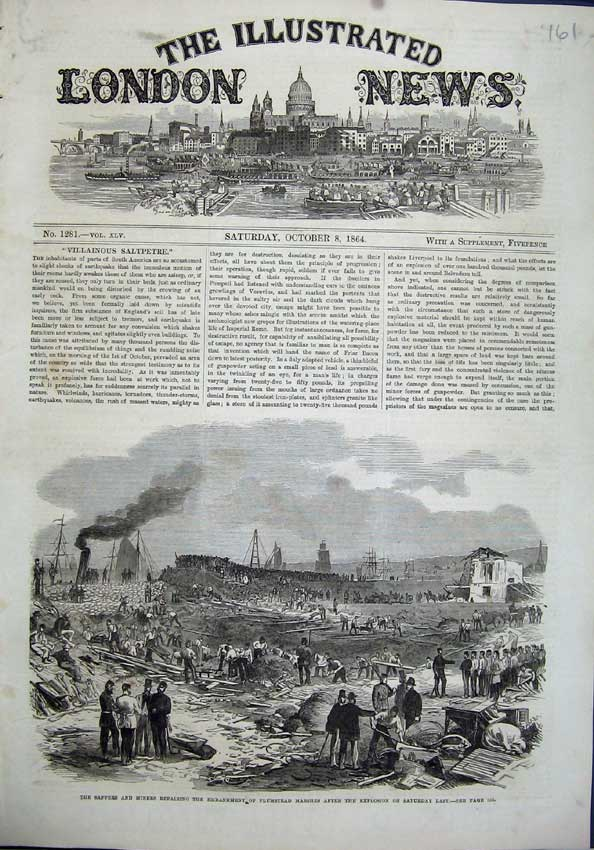 [Print 1864 Sappers Miners Plumstead Marshes Explosion War 161N118 Old Original]