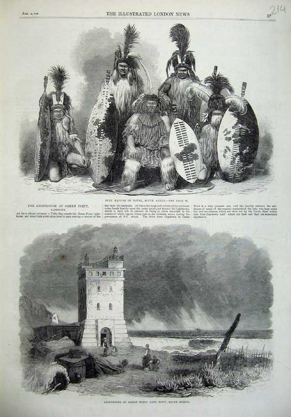 [Print 1865 Zulu Kaffirs Natal Lighthouse Cape Town Africa Art 214N119 Old Original]