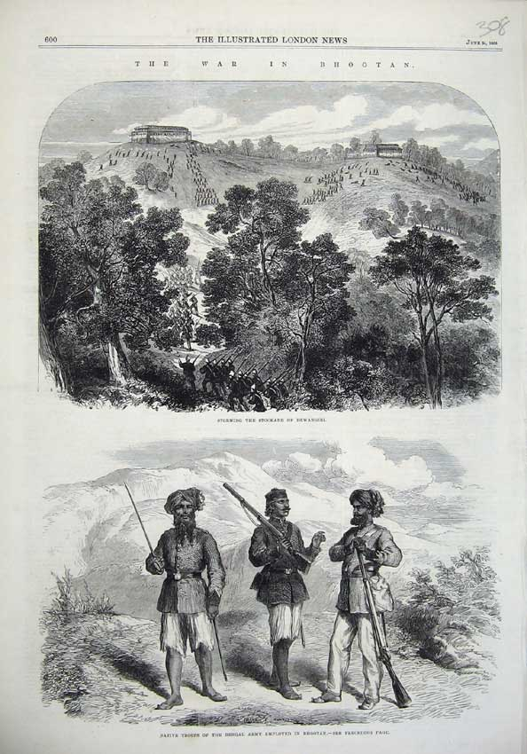 [Print Stockade Dewangiri 1865 War Bhootan Native Bengal Army 308N119 Old Original]