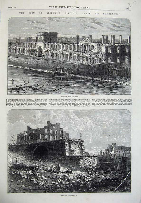 [Print Richmond Ruins Armoury Arsenal1865 Fine Art War America 317N119 Old Original]