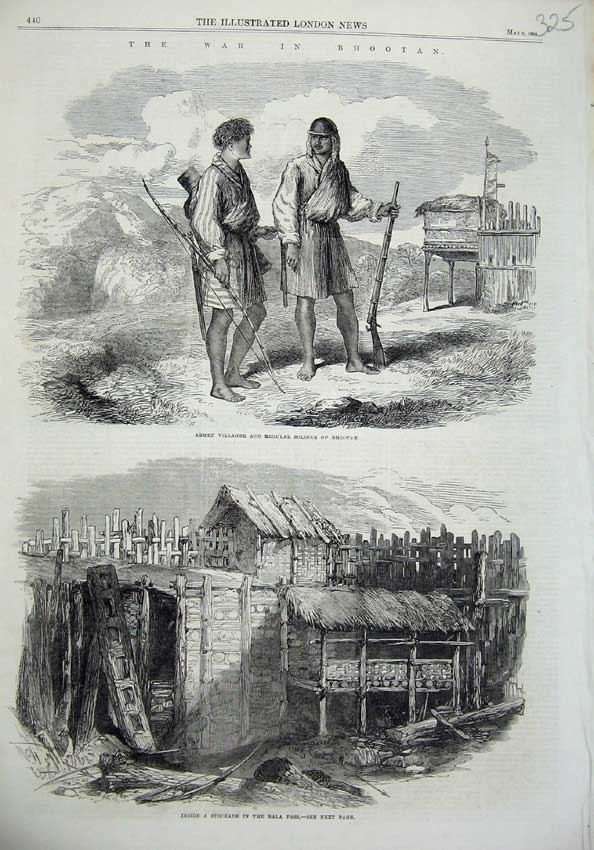 [Print War Bhootan 1865 Armed Soldiers Stockade Bala Pass 325N119 Old Original]
