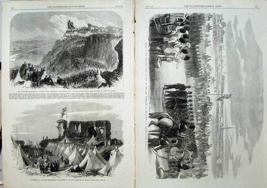 [Print 1865 Holyrood Edinburgh War Kendal Castle Kent Corps 501Tn119 Old Original]