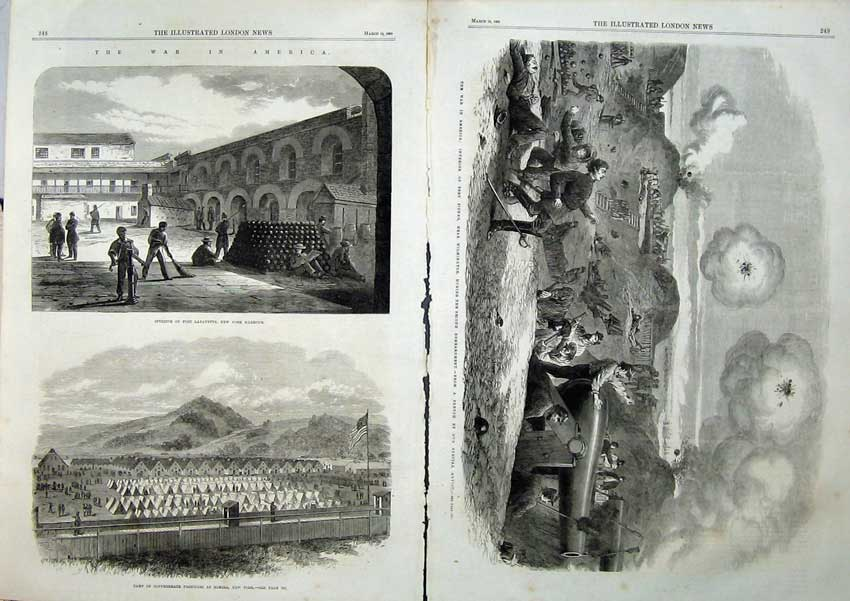[Print War America 1865 Fort Lafayette Fisher Elmira Harbour 516Tn119 Old Original]