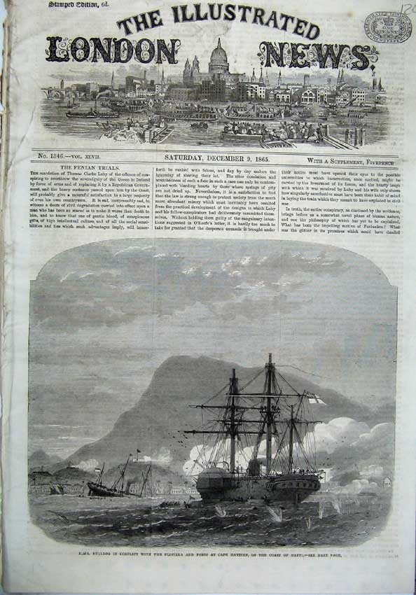 [Print 1865 Ship H.M.S Bulldog Flotilla Forts Cape Haytien War 120N120 Old Original]