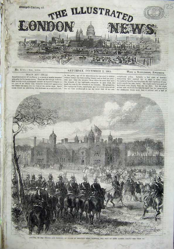 [Print 1865 Prince Wales Melford Hall Suffolk Lord Alfred War 125N120 Old Original]