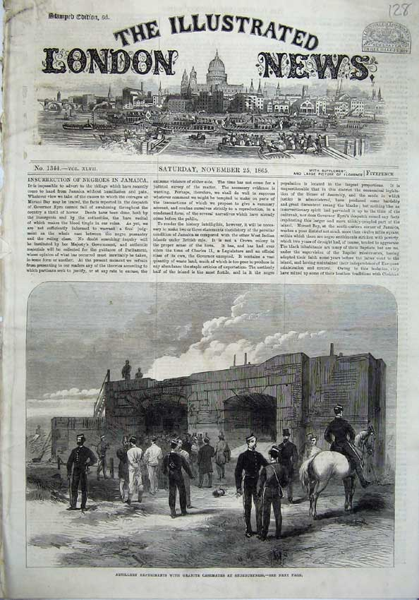 [Print 1865 Artillery Granite Casemates Shoeburyness Army War 128N120 Old Original]