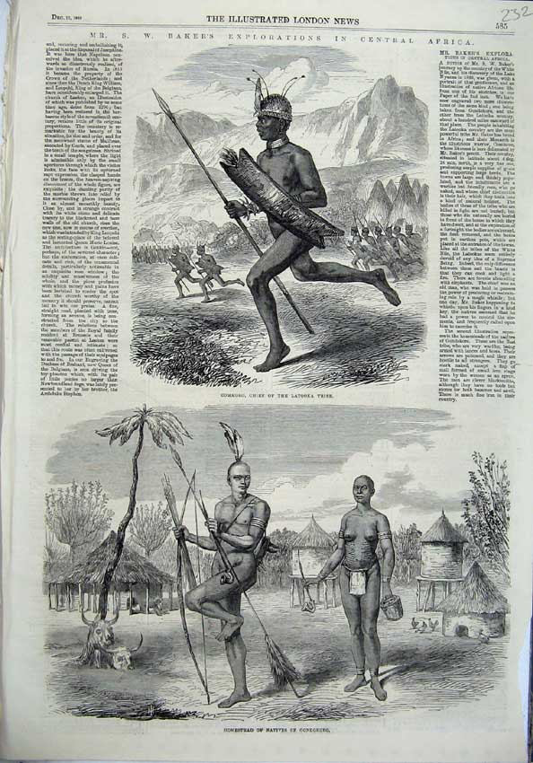 [Print Baker Africa 1865 Commoro Chief Latooka Homes Native 232N120 Old Original]