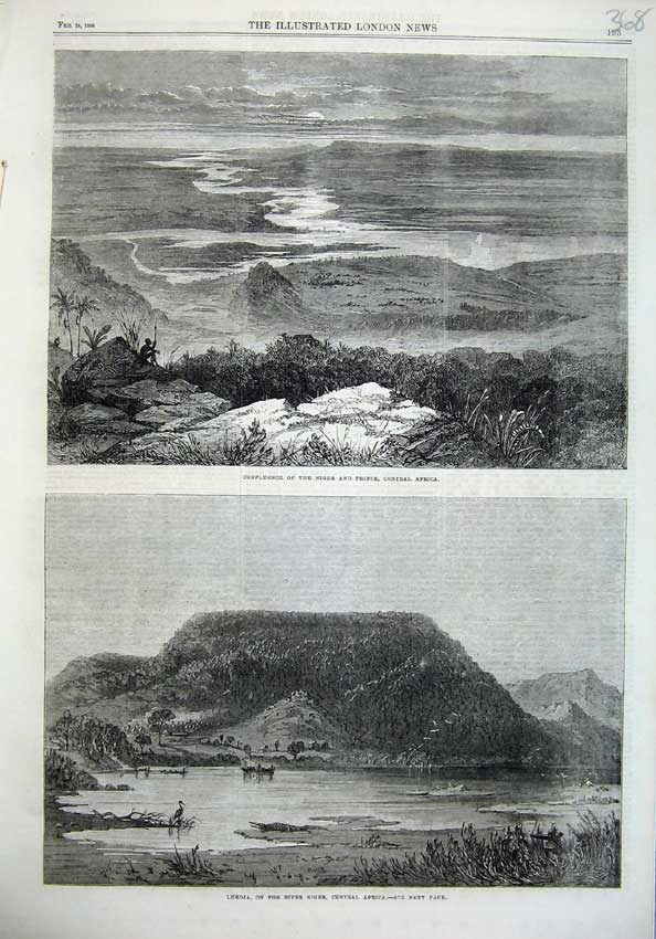 [Print Confluence Niger Prince Africa 1866 Lukoja Mountains 368N121 Old Original]