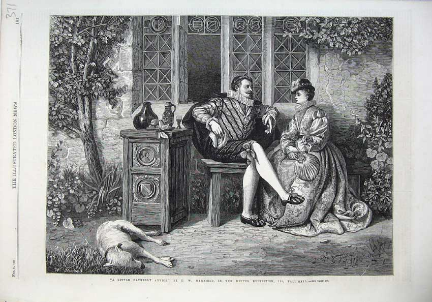 [Print Fine Art 1866 Man Woman Romance Tabl Dog Wynfield 371N121 Old Original]