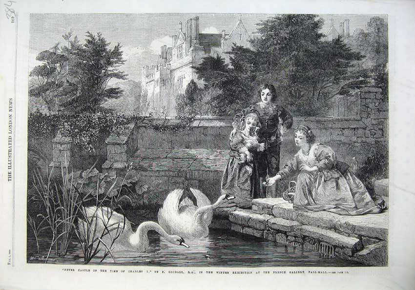[Print Fine Art 1866 Hever Castle Swans Children Dog Lake Tree 384N121 Old Original]