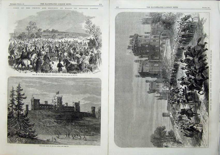 [Print Prince Wales Belvoir Castle Duke Rutland Foxhounds Dogs 507Tn121 Old Original]