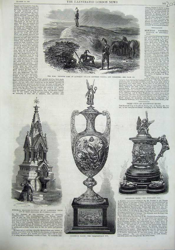[Print 1866 War Vedette Post Austrian Uhlans Fountain Cup Mary 202N122 Old Original]