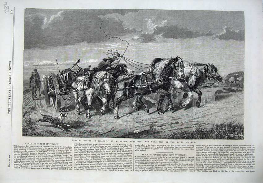 [Print 1866 Timber Picardy Horse Cart Logs Dogs Beavis Thomas 284N122 Old Original]