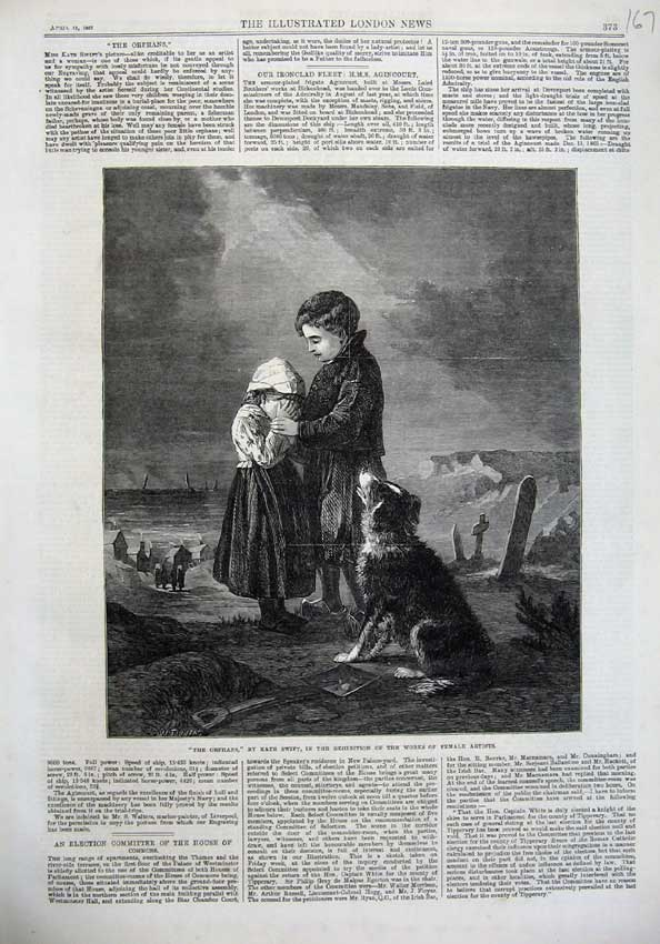 [Print 1867 Fine Art Orphans Children Cemetery Dog Crying 167N123 Old Original]