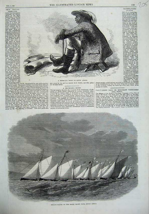 [Print 1867 Bechuana Chief Africa Sailing-Match Natal Yacht 205N123 Old Original]