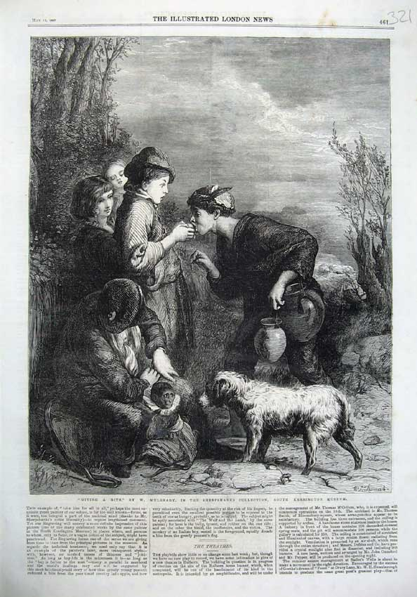 [Print 1867 Fine Art Monkey Dog Children Fruit Kensington 321N123 Old Original]