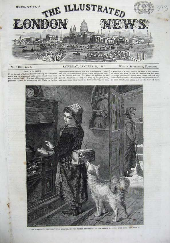 [Print 1867 Women Food Parcel Fire Cooker Dog Bonavia Fine Art 393N123 Old Original]