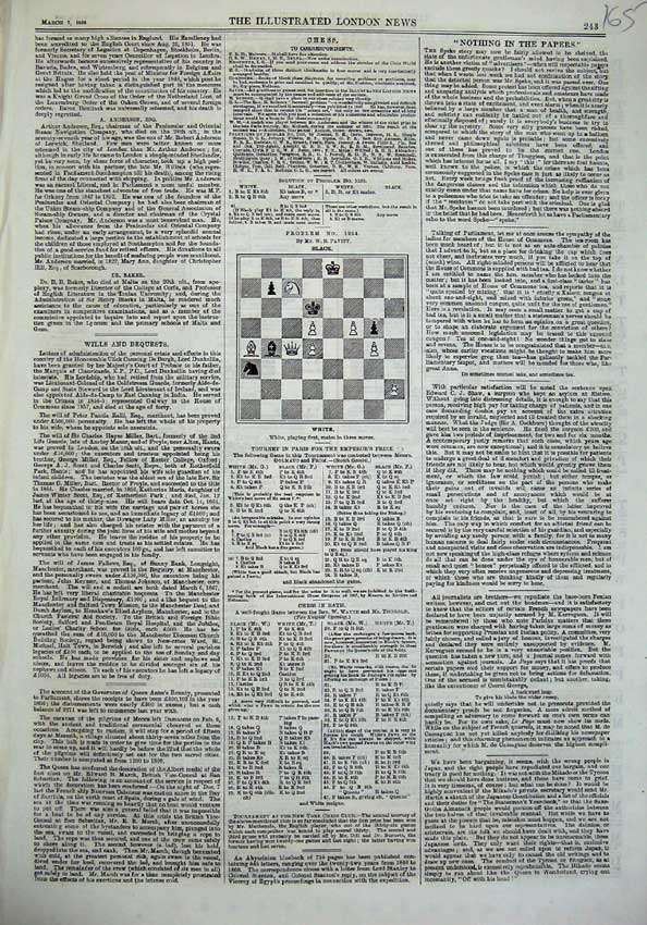 [Print 1868 Page Illustrated London News Chess Newspaper 165N125 Old Original]