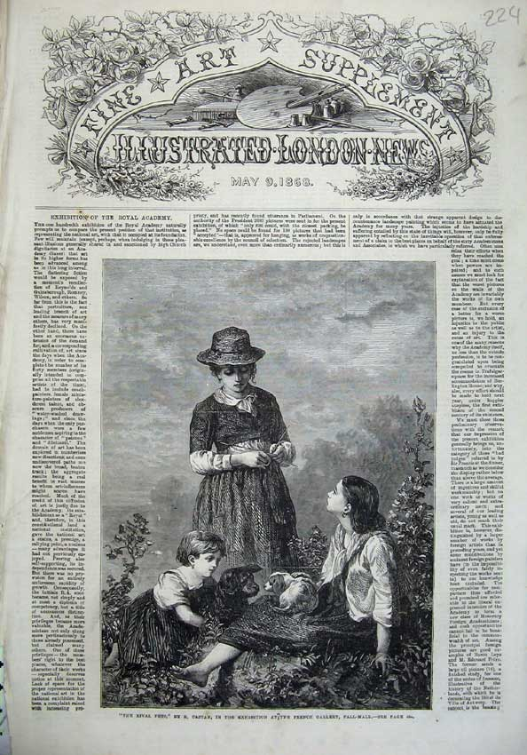 [Print 1868 Fine Art Children Dogs Country Mother Knitting 224N125 Old Original]