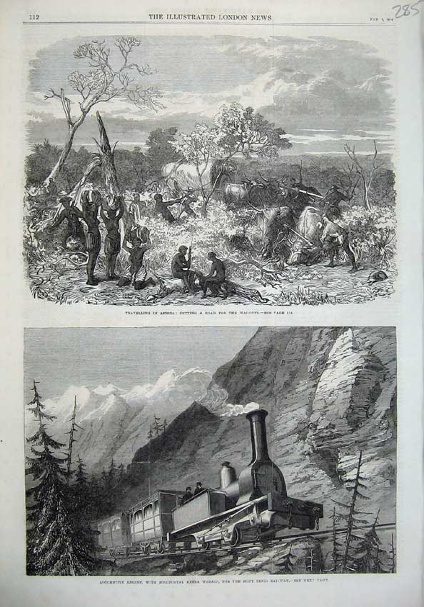 [Print Train Engine Mont Censis Railway 1868 Africa Natives 285N125 Old Original]