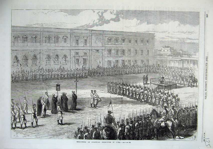 [Print Execution Political Prisoners Cuba War 1869 Soldiers 125N126 Old Original]