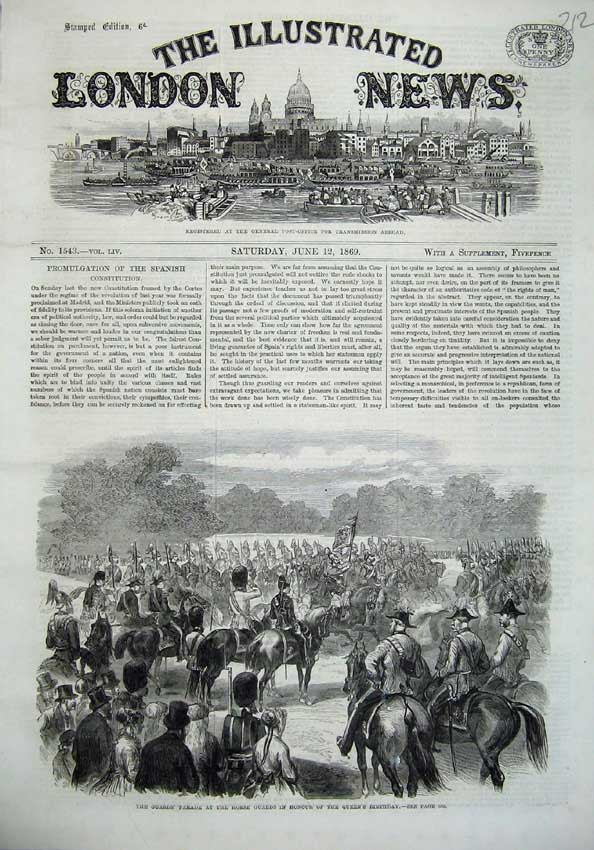 [Print 1869 Guards Parade Horse Queens Birthday War Army 212N126 Old Original]