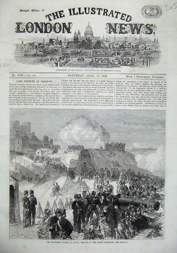 [Print 1869 Ta Army Review Dover Defence Castle Batteries War 245N126 Old Original]