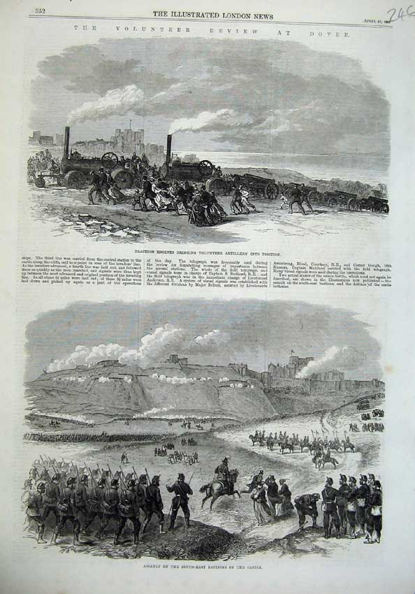 [Print 1869 Ta Army Review Dover Traction Engines Castle War 246N126 Old Original]