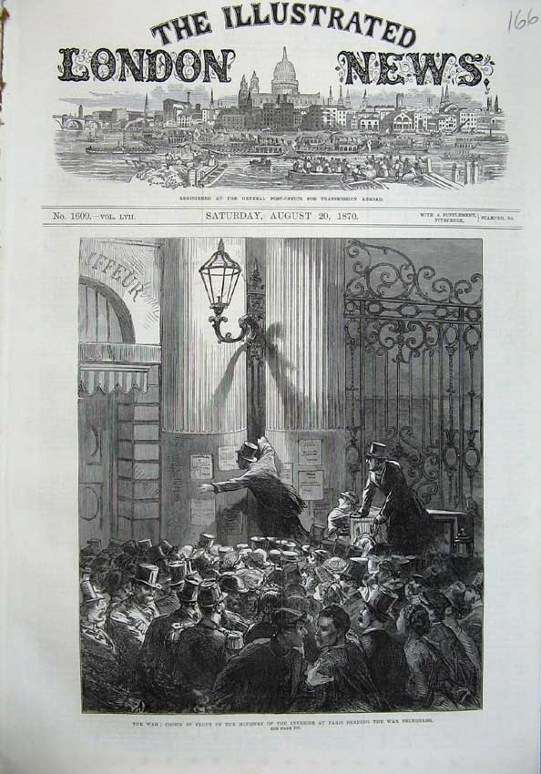 [Print 1870 War People Ministry Paris War Telegrams Fine Art 166N129 Old Original]