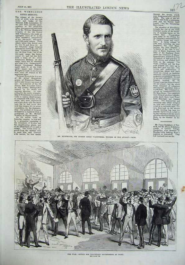[Print Humphries Surrey Rifle 1870 War Office Enlistment Paris 172N129 Old Original]