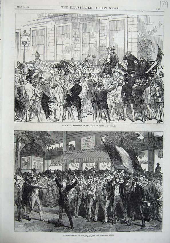 [Print War King Prussia Berlin 1870 Boulevard Italiens Paris 174N129 Old Original]