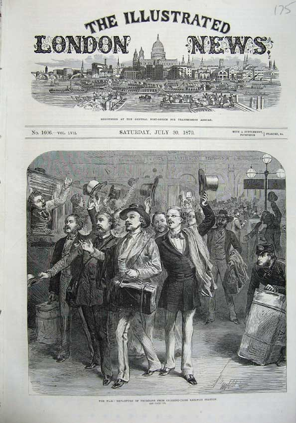 [Print 1870 War Departure Prussians Railway Station Charring 175N129 Old Original]
