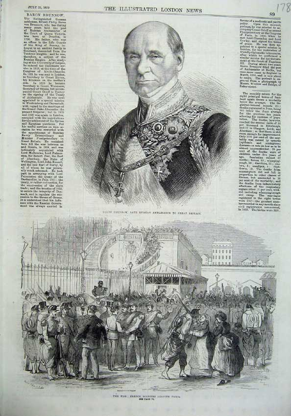 [Print Baron Brunnow Russian 1870 War French Soldiers Paris 178N129 Old Original]