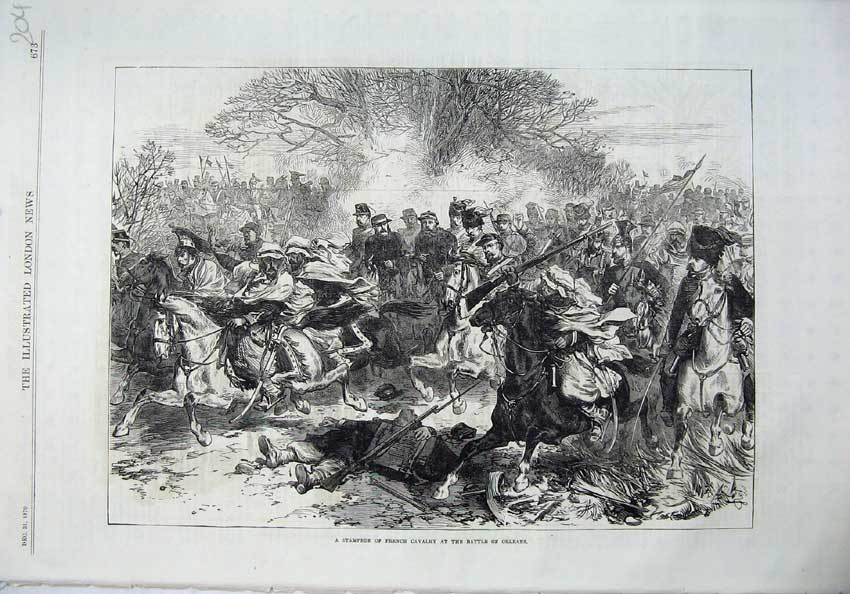 [Print 1870 War Stampede French Cavlary Battle Orleans Army 204N129 Old Original]