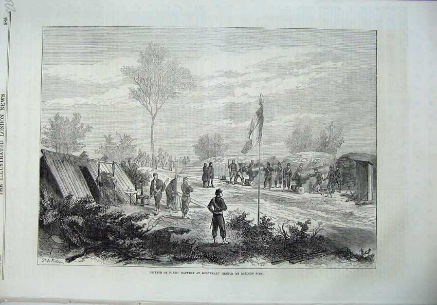 [Print Paris War 1870 Battery Mortemart Army Soldiers Cannon 226N129 Old Original]