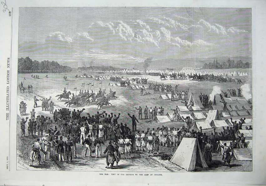 [Print War 1870 Visit Emperor Camp Chalons Army Soldiers Horse 302N129 Old Original]