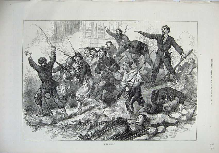 [Print 1871 A La Mort War Soldiers Army Wounded Rifle Shooting 214N130 Old Original]