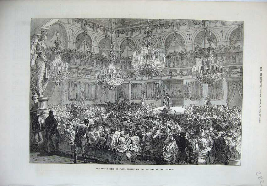 [Print 1871 French Seige Paris Concert Wounded Tuileries War 222N130 Old Original]