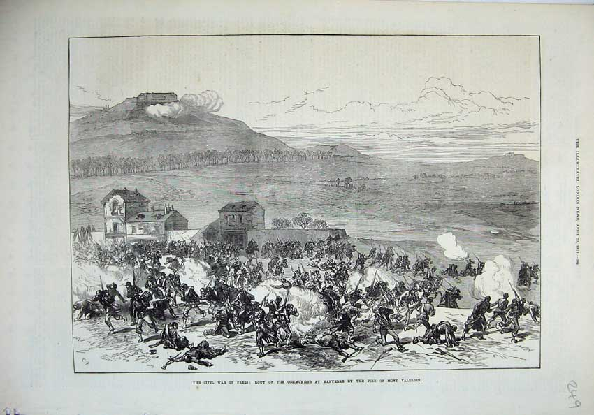 [Print 1871 Civil War Paris Rout Communists Nanterre Valerien 249N130 Old Original]