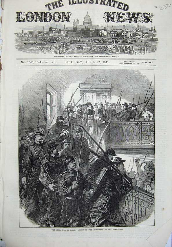 [Print Civil War Paris 1871 Arrest Archbishop Communists Art 250N130 Old Original]