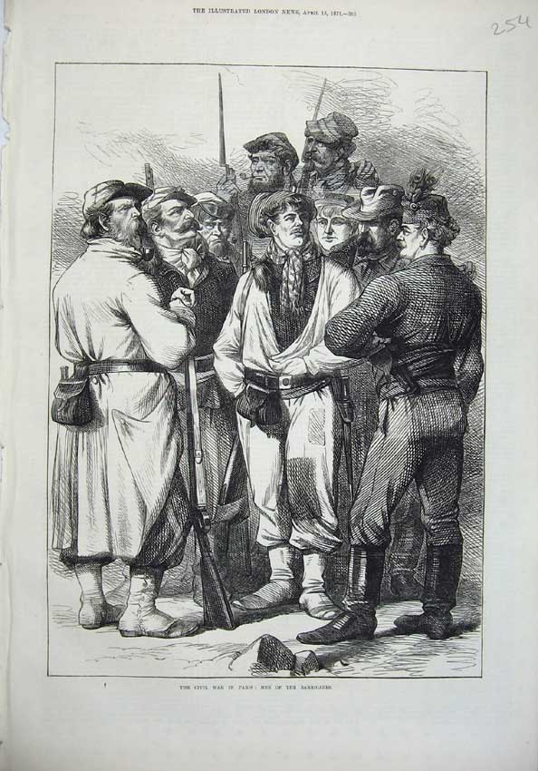 [Print 1871 Civil War Paris France Men Barricades Army 254N130 Old Original]