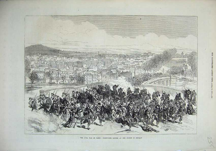 [Print 1871 Civil War Paris Communists Bridge Neuilly Army 255N130 Old Original]