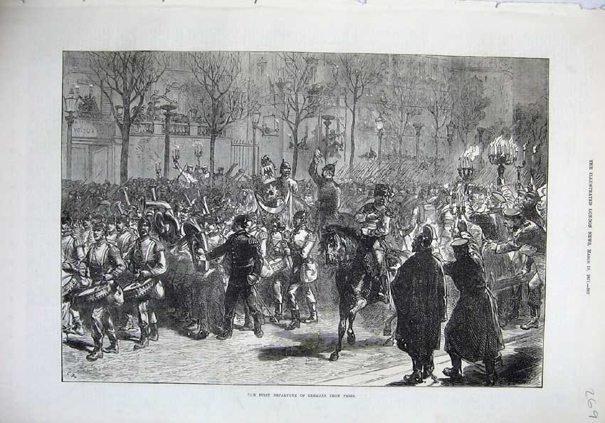 [Print 1871 Departure Germans Paris France Army War Horses 269N130 Old Original]