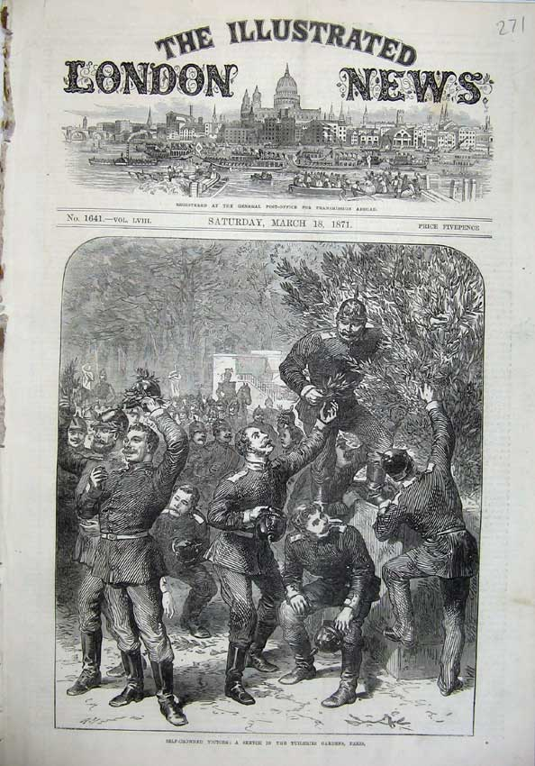 [Print Tuileries Gardens Paris France 1871 War Army Victors 271N130 Old Original]