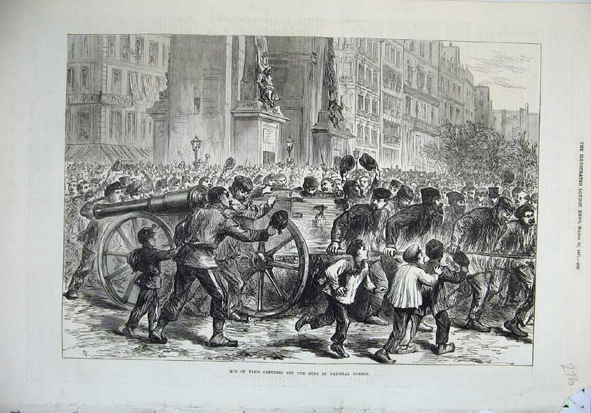 [Print 1871 Mob Paris Cannon Gun National Guard War France 276N130 Old Original]