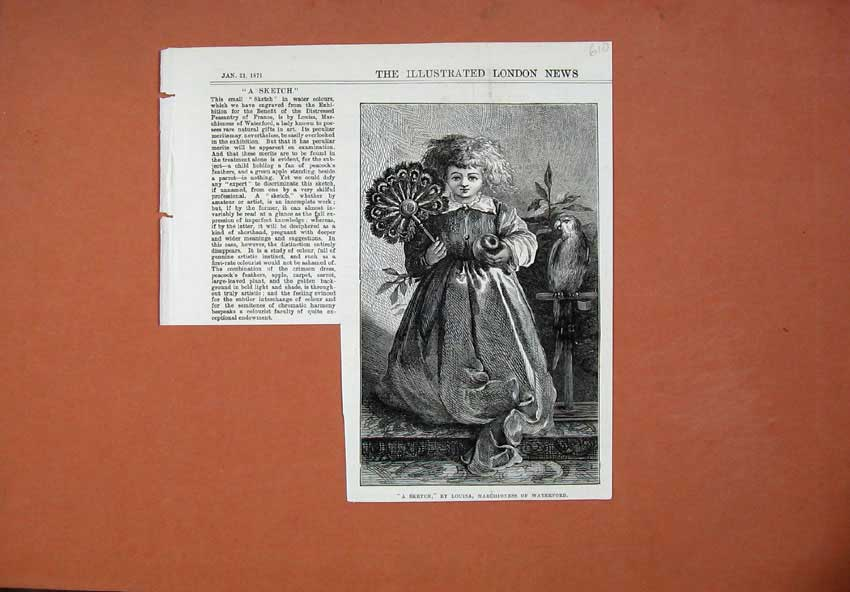 Print 1871 Young Girl Fan Parrot Marchioness Waterford 610N130 Old Original