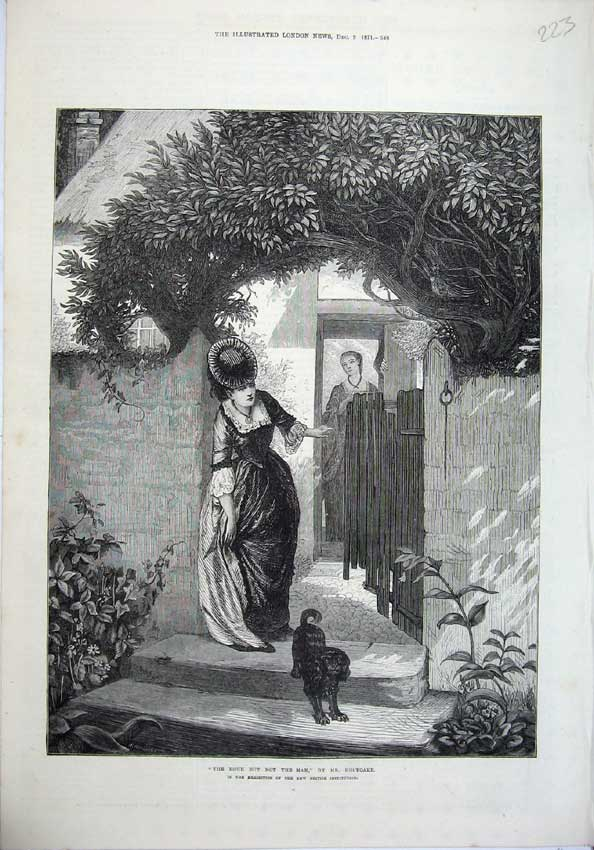 [Print 1871 Fine Art Holyoake Young Woman Doorstep Dog Gate 223N131 Old Original]