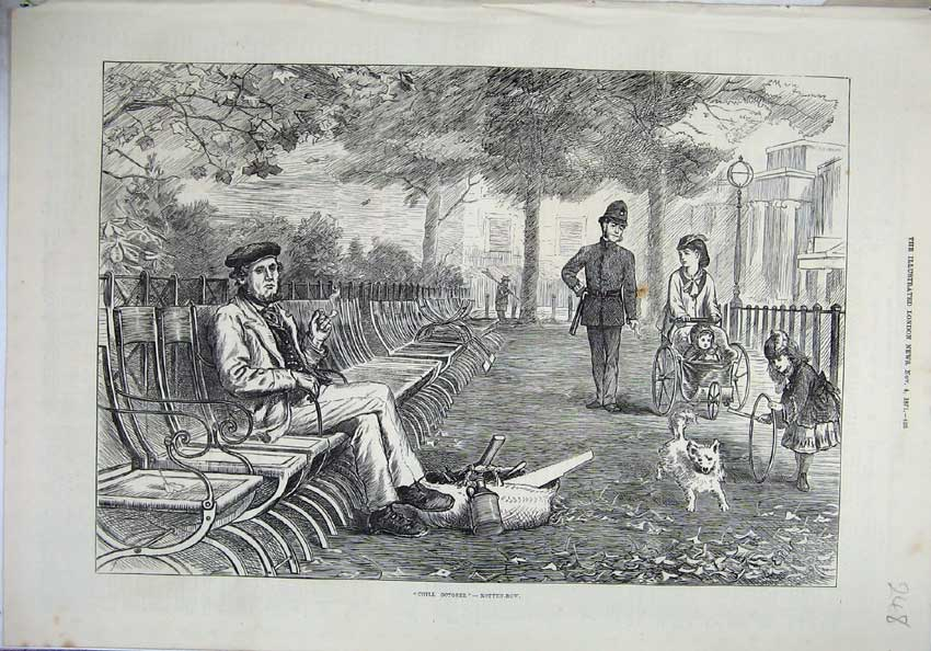 [Print 1871 October Man Sitting Park Policeman Woman Baby Dog 248N131 Old Original]