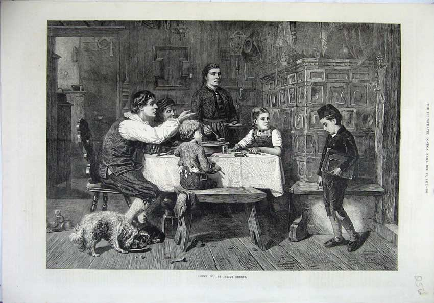 [Print Fine Art 1871 School Boy Home Dinner Table Dog 256N131 Old Original]