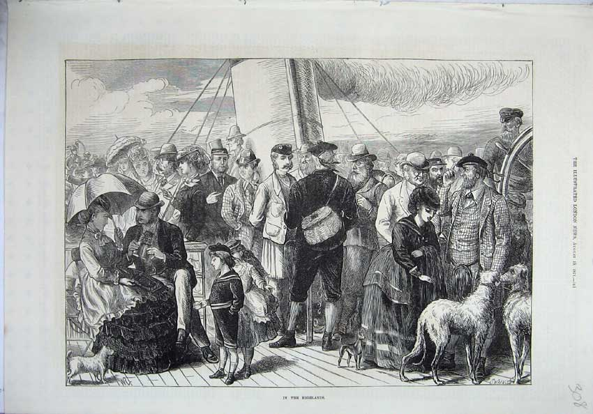[Print 1871 Highlands Scotland Families Dogs Steam Ship 308N131 Old Original]